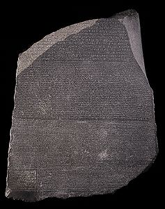 The Rosetta stone written in a mix of Demotic and hieroglyphs. http://www.ancientegypt.co.uk/writing/images/rose_lg.jpg